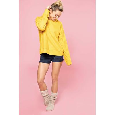 """Sweat-shirt capuche lounge Bio femme Jaune-91% coton / 9%Polyester-Molleton non gratté """"French Terry"""". Toucher ultra doux. Manches montées. Coupe loose décontractée avec capuche doublée en tissu jersey"""