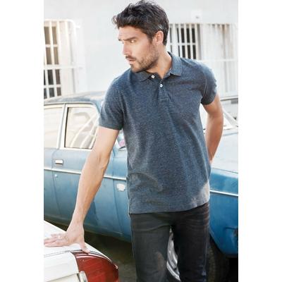 """Polo vintage manches courtes homme Bleu chiné-100% coton maille piqué aspect """"Vintage""""-Double bande de propreté en chevron à l'encolure et fentes côté. Patte de boutonnage 2 boutons contrastés."""