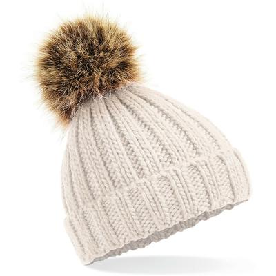 Bonnet Beanie épais à pompon en fourrure Oatmeal-100% acrylique à fil doux. Bonnet style unisexe avec revers, tricot côtelé épais, pompon en fausse fourrure amovible, taille unique.
