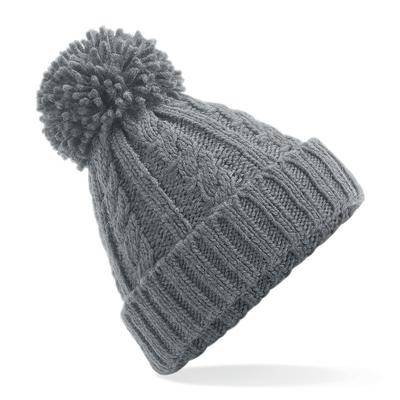 Bonnet 100% acrylique Soft-Touch Gris clair .lourde-maille torsadée en laine mélangée. Pompon de même couleur. Effet fait-main. Bande thermique Suprafleece, avec revers