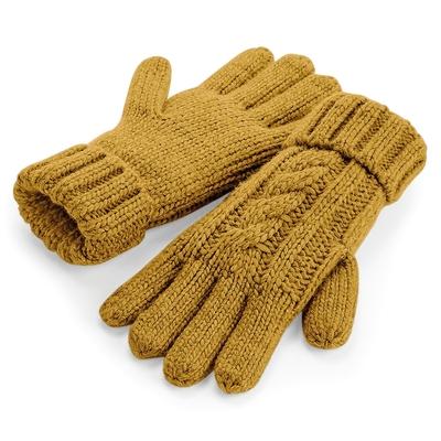 Gants 100% acrylique Soft-Touch. Couleur Moutarde maille lourde torsadée en laine mélangée, effet fait-main, revers à mailles