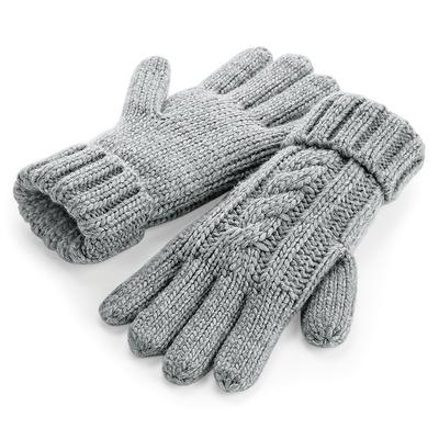 Gants 100% acrylique Soft-Touch. Couleur Gris Clair  -maille lourde torsadée en laine mélangée, effet fait-main, revers à mailles