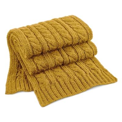 Écharpe Moutarde  100% acrylique Soft-Touch.maille lourde torsadée en laine mélangée, modèle enveloppant à grosse maille. Effet fait-main, modèle unisex.