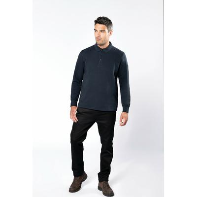 Sweat-shirt col polo Bleu Navy -80% Coton/20% Polyester-Patte de boutonnage col 3 boutons. Passe fil dans la poche + passant encolure pour écouteurs. Poche zippée invisible côté droit