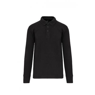 Sweat-shirt col polo Gris Anthracite -80% Coton/20% Polyester-Patte de boutonnage col 3 boutons. Passe fil dans la poche + passant encolure pour écouteurs. Poche zippée invisible côté droit