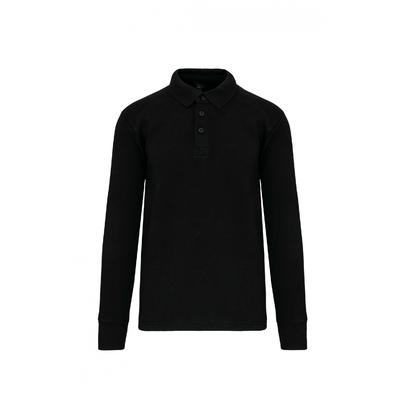 Sweat-shirt col polo Noir -80% Coton/20% Polyester-Patte de boutonnage col 3 boutons. Passe fil dans la poche + passant encolure pour écouteurs. Poche zippée invisible côté droit