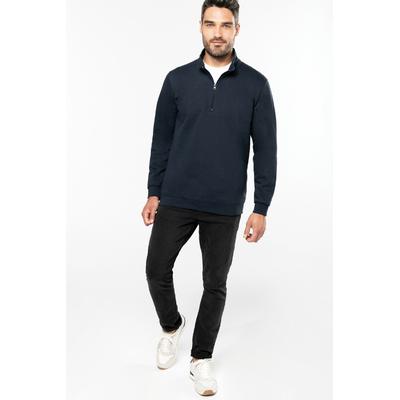 Sweat-shirt col zippé Bleu Navy-80% coton / 20% Polyester-Molleton gratté. Manches montées. bande de propreté ton sur ton. Finition bord-côte bas de manches et de vêtement.