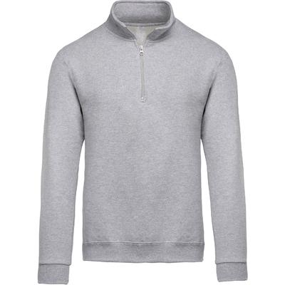 Sweat-shirt col zippé Gris Chiné-80% coton / 20% Polyester-Molleton gratté. Manches montées. bande de propreté ton sur ton. Finition bord-côte bas de manches et de vêtement.