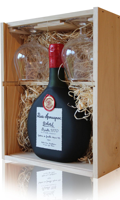 Coffret 2 Verres   Armagnac  Delord  1970  70cl