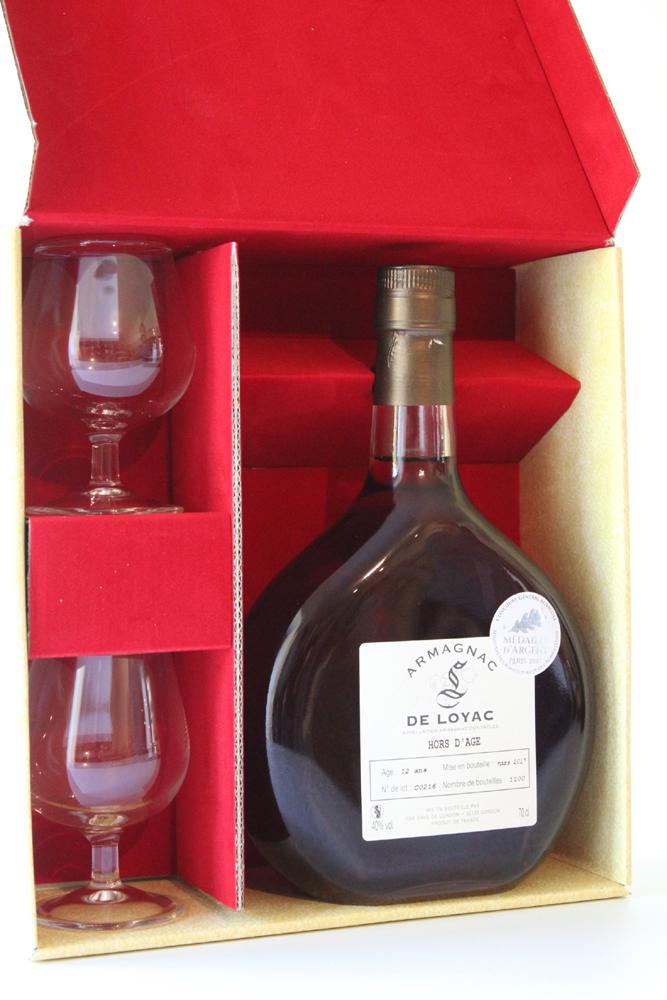 Coffret Armagnac De Loyac Hors d\'Age - 2 Verres - 70CL Médaille d\'argent