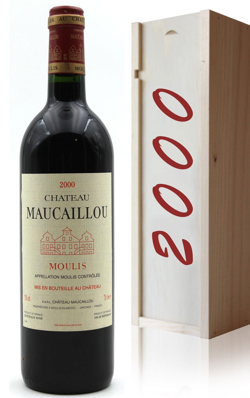 Coffret Château Maucaillou 2000 Vin Rouge 75cl AOC Moulis