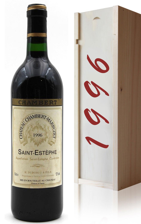 Coffret Château Chambert-Marbuzet 1996 Vin Rouge 75cl AOC Saint-Estephe