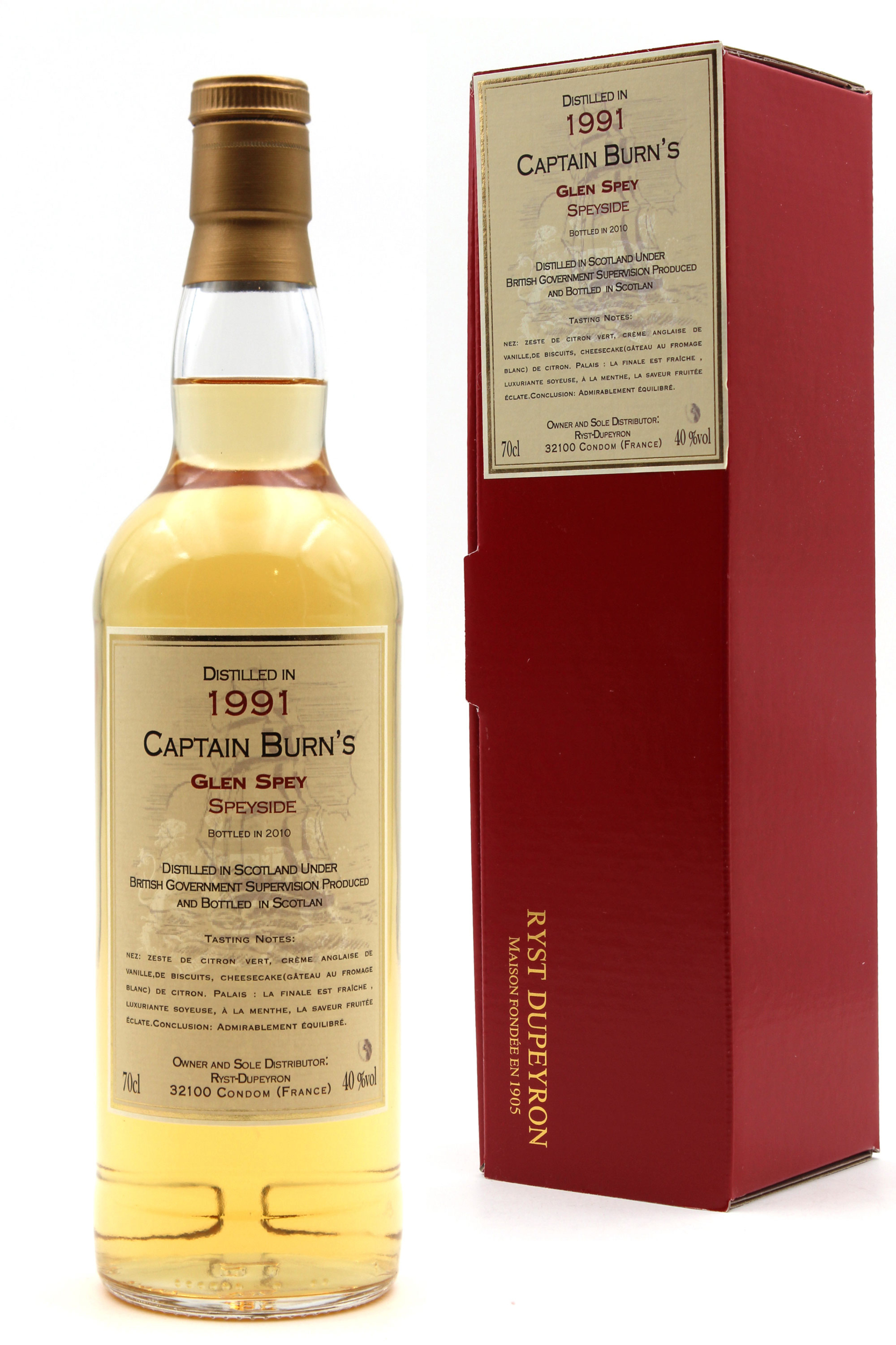 Whisky Captain Burn\'s Glen Spey - Speyside - 1991 - 70cl