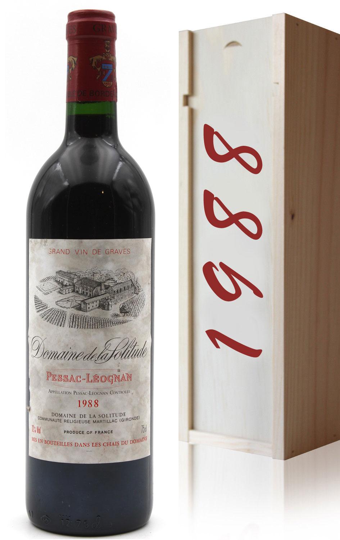 Coffret Château Domaine de la Solitude 1988 vin rouge 75cl AOC Pessac - Léognan