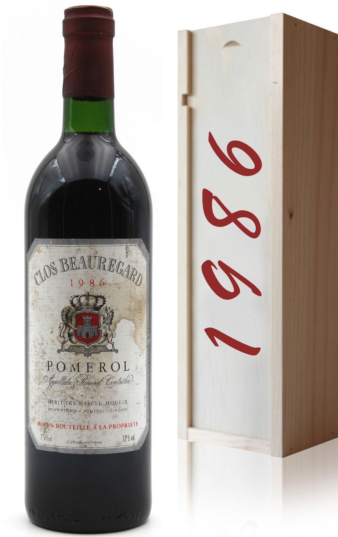 Coffret Château Clos Beauregard 1986 Vin Rouge 75cl AOC Pomerol