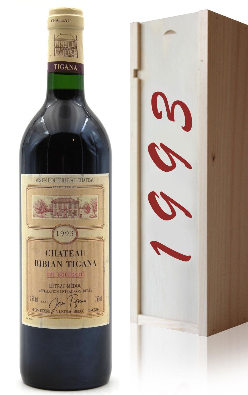 Coffret Château Bibian Tigana 1993 Cru Bourgeois vin Rouge 75cl AOC Listrac-Médoc