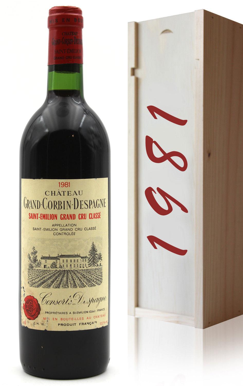 Coffret Château Grand Corbin Despagne 1981 - Rouge - AOC - Saint-Émilion