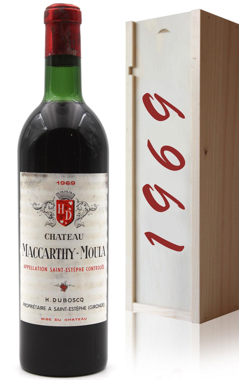 Coffret Château Maccarthy-Moula 1969 Vin Rouge 75cl AOC Saint-Estephe