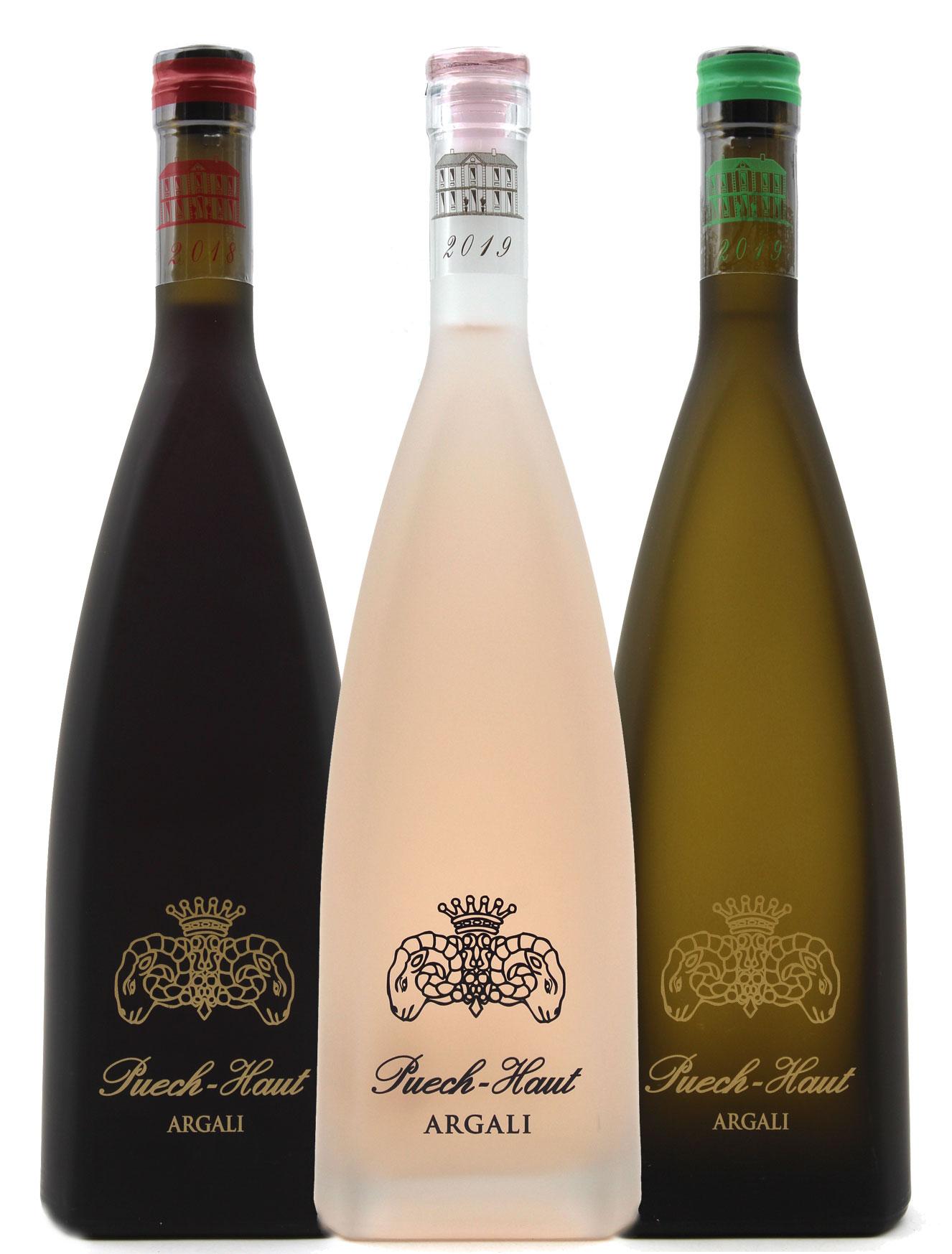 Lot de 3 Bouteilles Château Puech Haut Argali Rouge, Blanc & Rosé - 75cl