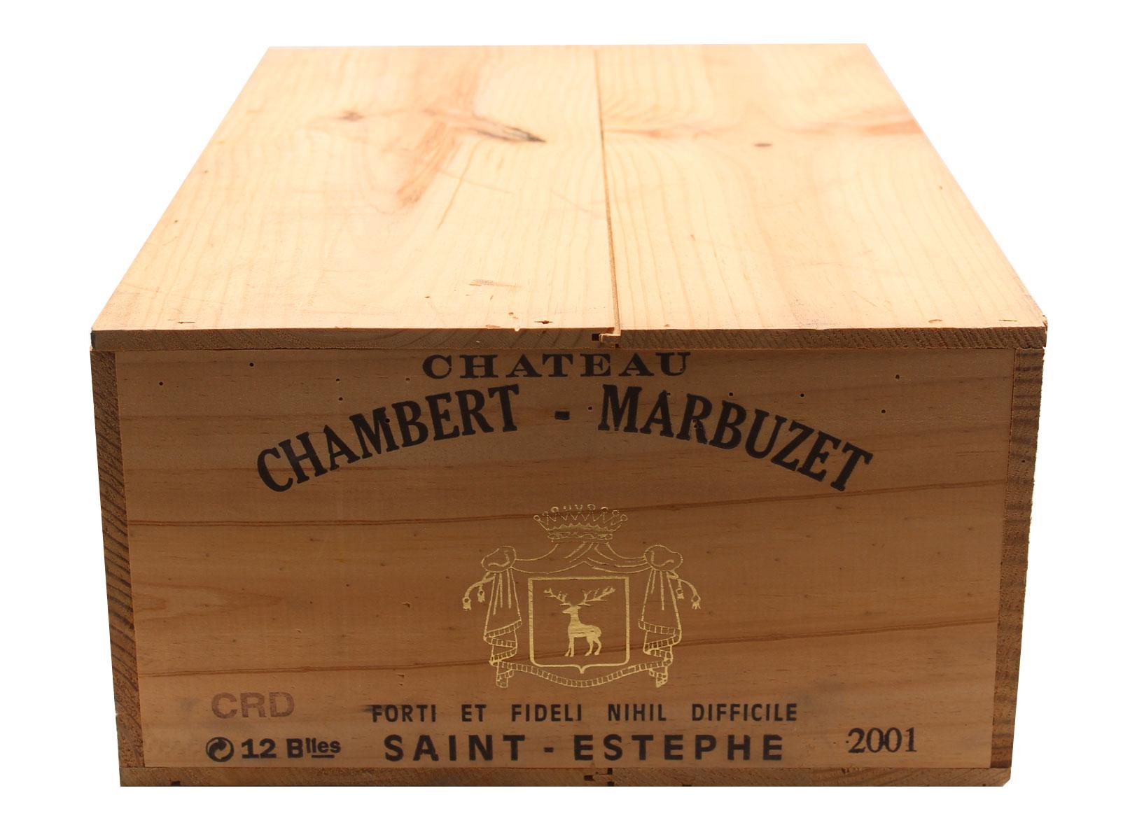 Caisse x12 Château Chambert-Marbuzet 2001 Vin Rouge 75cl AOC Saint-Estephe