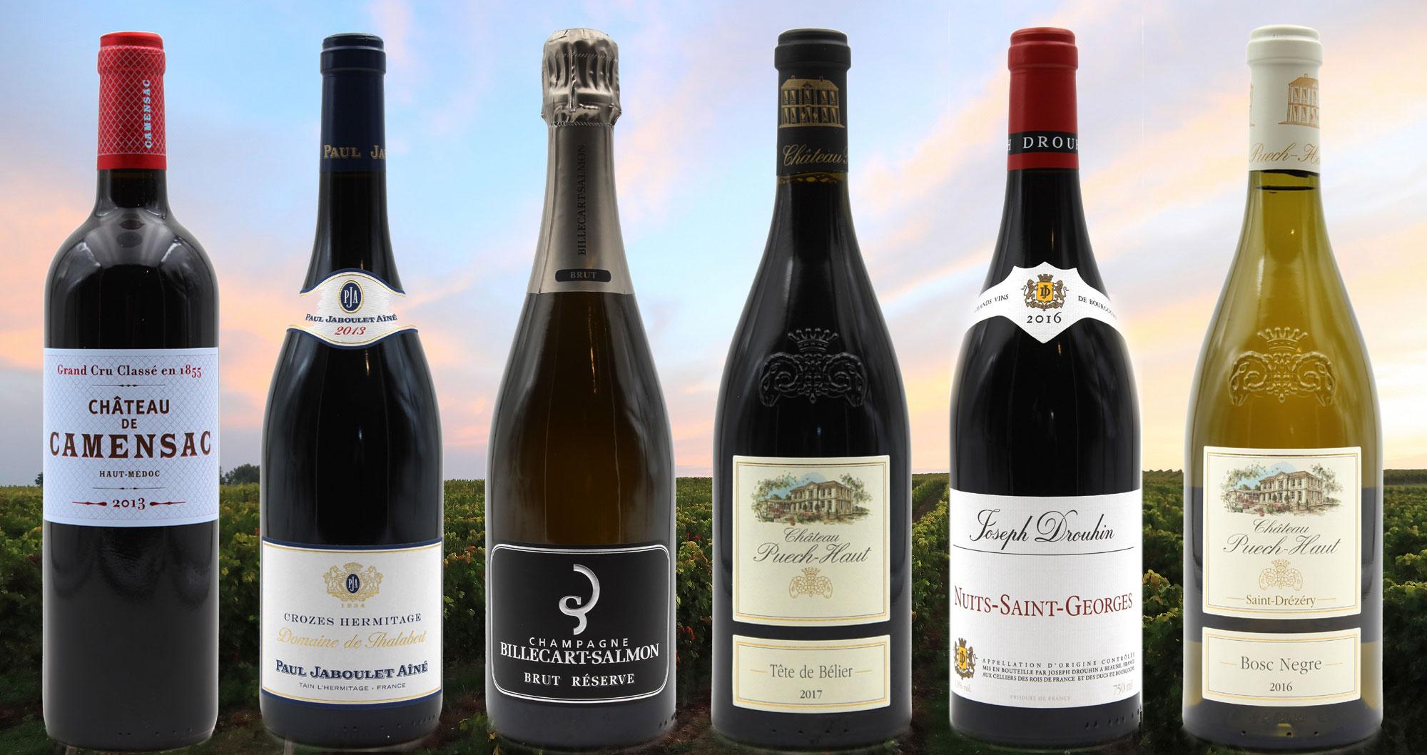 Superbes bouteilles de vins rouge, blanc & champagne