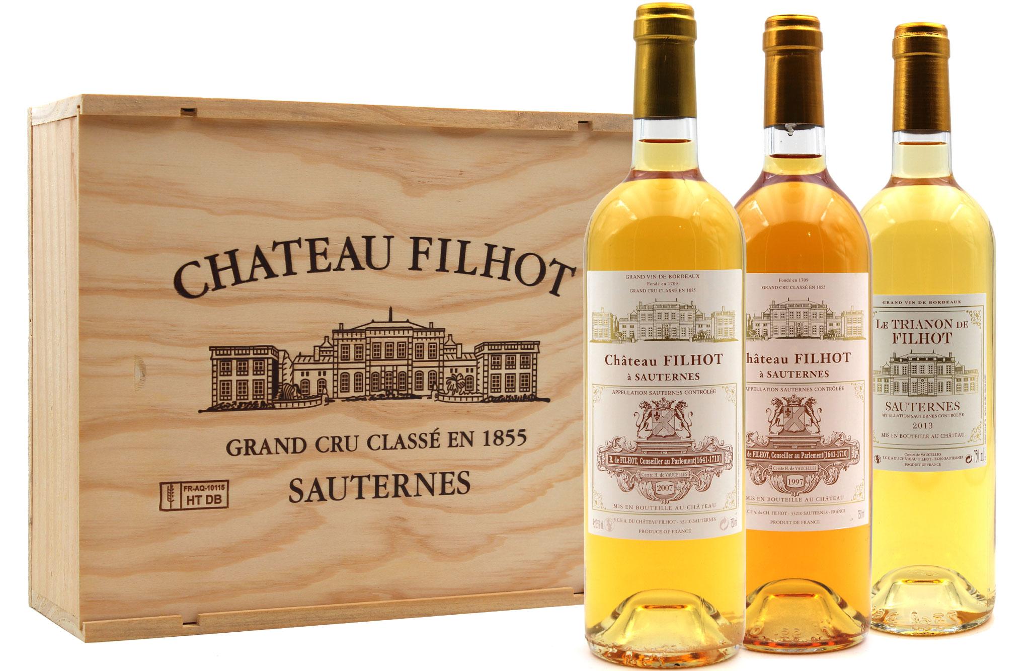 Coffret Découverte Filhot & Trianon 1997, 2007, 2013 Vin Blanc 75cl AOC Sauternes