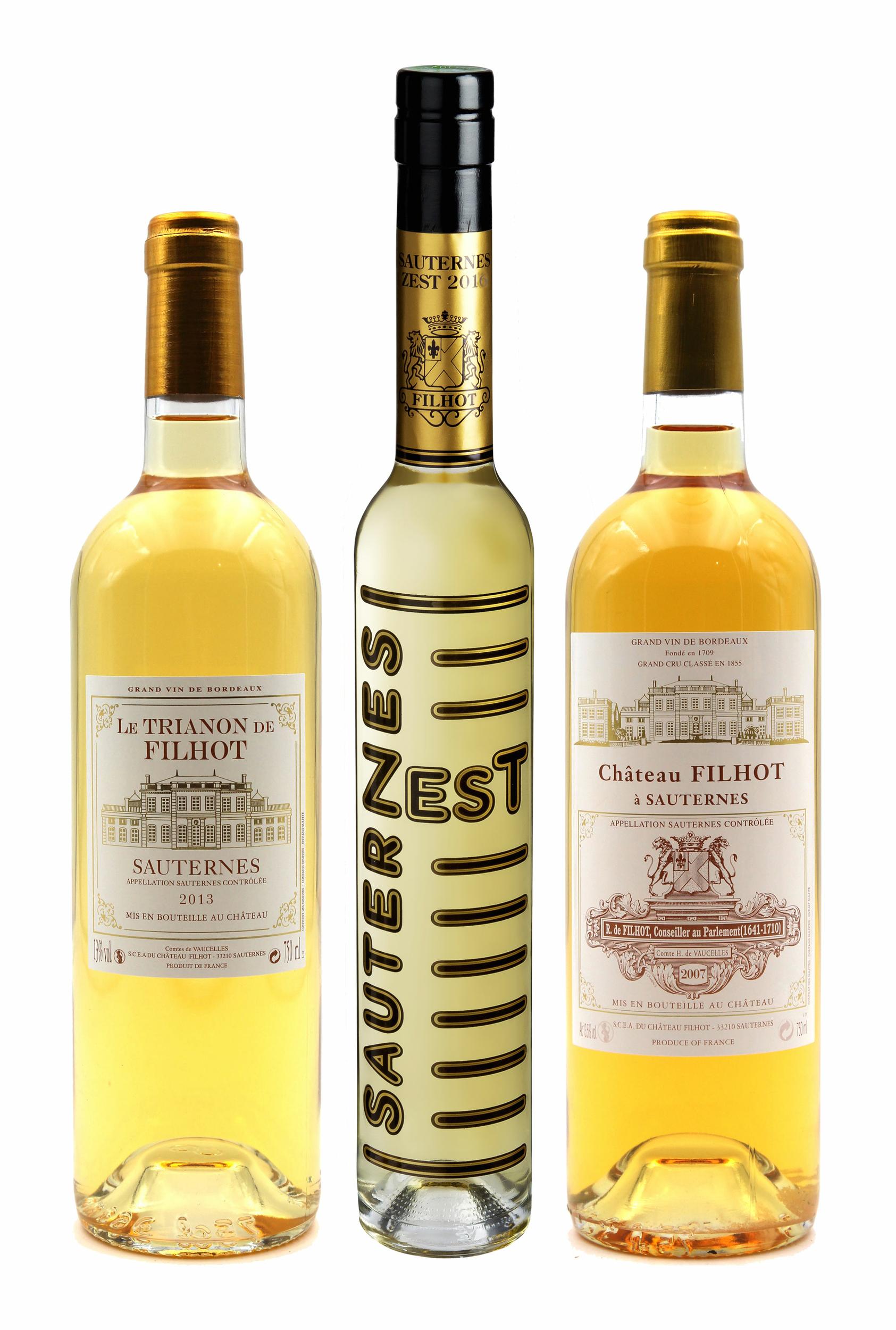Coffret Découverte Filhot, Trianon & Zest de Filhot 2007, 2013, 2017 Vin Blanc AOC Sauternes