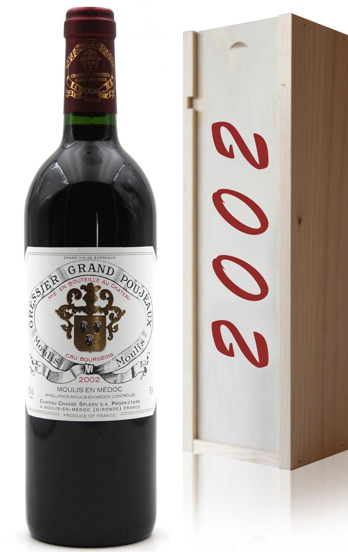Coffret Château Gressier Grand Poujeaux 2002 - Rouge - 75cl - AOC Moulis