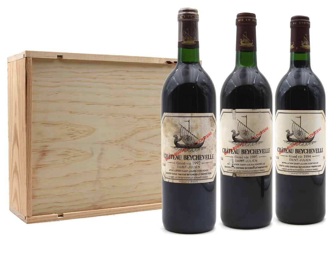 Collection 3 bouteilles Château Beychevelle 1992 - 1993 - 1994 - 75cl AOC Saint - Julien