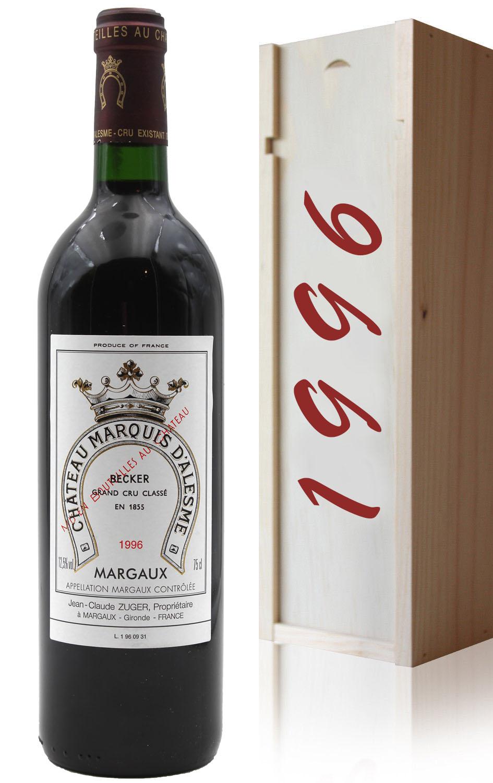 Coffret Château Marquis d\'Alesme Becker 1996 - 75cl AOC Margaux