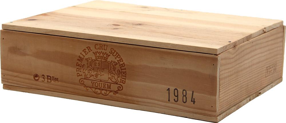 Caisse bois 3 bouteilles Château D\' Yquem 1984 - 75cl AOC Sauternes