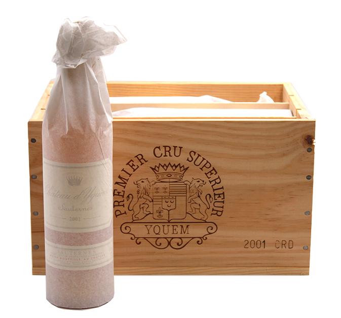 Caisse bois 6 bouteilles Château D\' Yquem 2001 - 75cl AOC Sauternes