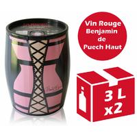 x2 Cubi Bib' Art - Le Benjamin de Puech Haut - Rouge - 2x3l - IGP Languedoc Roussillon