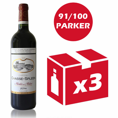 x3 Château Chasse Spleen 2014 Rouge 75cl AOC Moulis