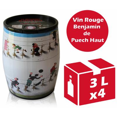x4 Cubi Bib' Art - Le Benjamin de Puech Haut - Rouge - 2x3l - IGP Languedoc Roussillon