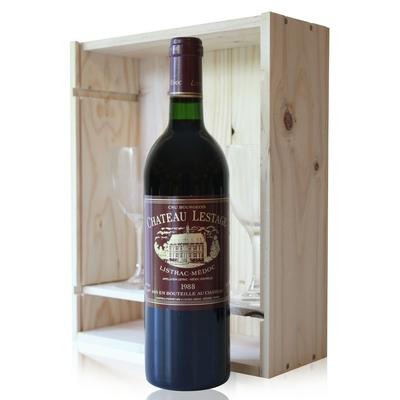 Coffret Château Lestage 1988 + 2 verres Rouge 75cl AOC Listrac-Médoc - Cru Bourgeois