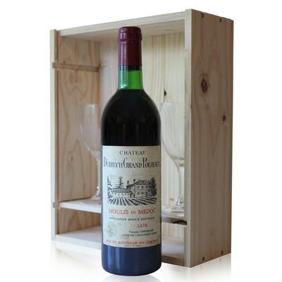 Coffret Château Dutruch Grand Poujeaux 1978 + 2 verres Rouge 75cl AOC Moulis
