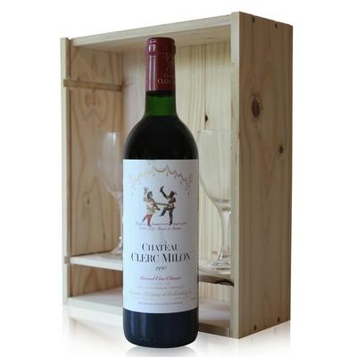 Coffret Château Clerc Milon 1990 + 2 verres Rouge 75cl AOC Pauillac