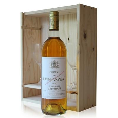 Coffret Château Rayne Vigneau 1979 + 2 verres Blanc 75cl AOC Sauternes