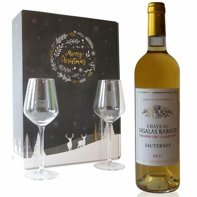 Coffret Noël Château Sigalas Rabaud 2011 + 2 verres à vin - Blanc - 75cl - AOC Sauternes