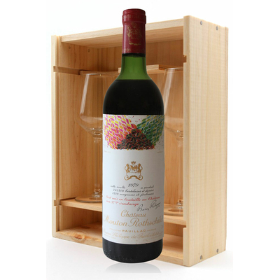 Coffret Château Mouton Rothschild 1979 + 2 verres Rouge 75cl AOC Pauillac