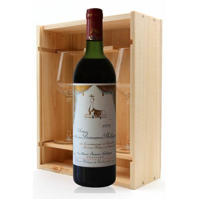 Coffret Château Mouton Baronne Philippe 1979 + 2 verres Rouge 75cl AOC Pauillac