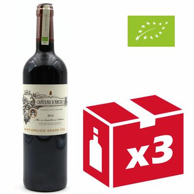 x3 Château D'Arcole 2016 - Vin Rouge BIO - Saint Émilion Grand Cru - 75cl