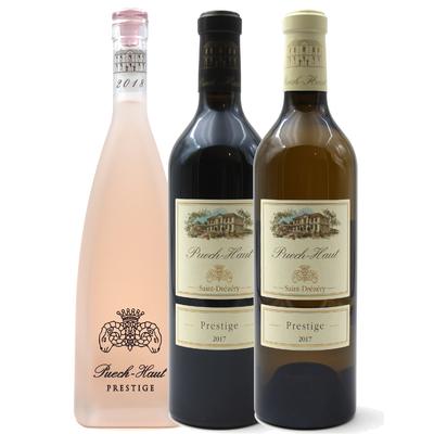 Lot de 3 bouteilles de Vins Rouge, Blanc et rosé Prestiges du Château Puech Haut - Côteaux du Languedoc