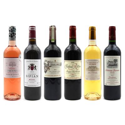 Lot de 6 bouteilles de Grands Vins de Bordeaux Rouge, Blanc & rosé