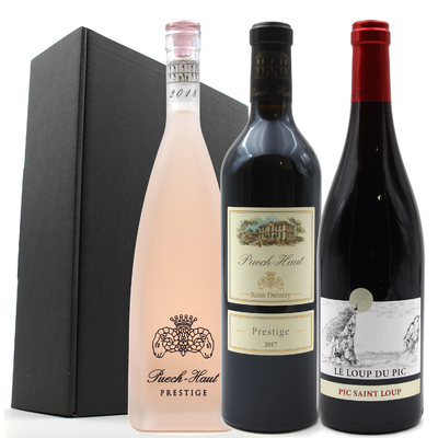 Coffret 3 bouteilles de Vin Rouge et rosé du Château Puech Haut - Côteaux du Languedoc