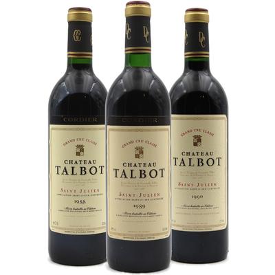 Trilogie Château Talbot 1988 - 1989 - 1990 - Vin Rouge - 75cl - AOC Saint-Julien
