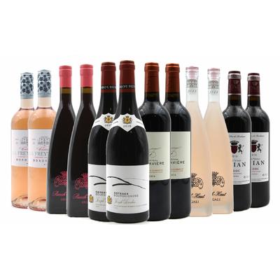 Carton de 12 superbes bouteilles de vins rouges et rosés, Les Pépites