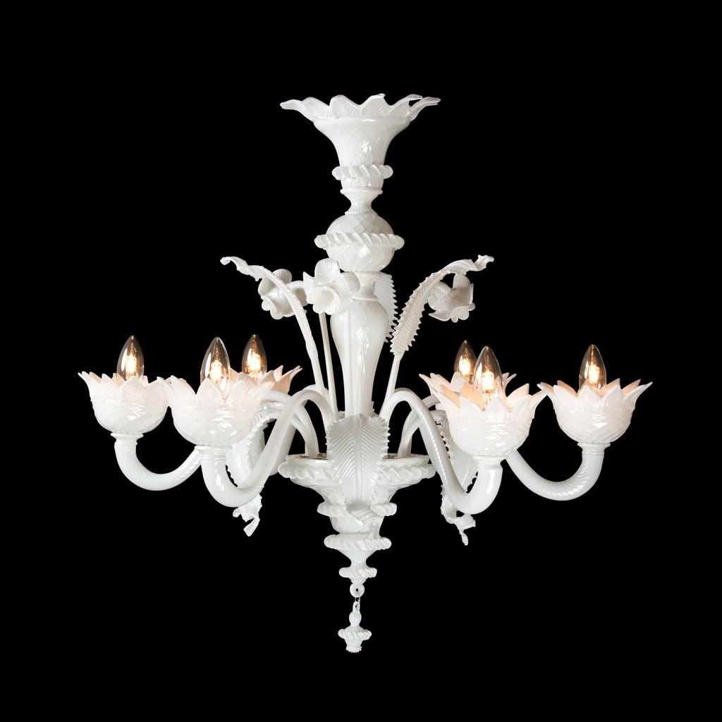 lustre baroque en verre de murano blanc 6 feux villalago. Black Bedroom Furniture Sets. Home Design Ideas