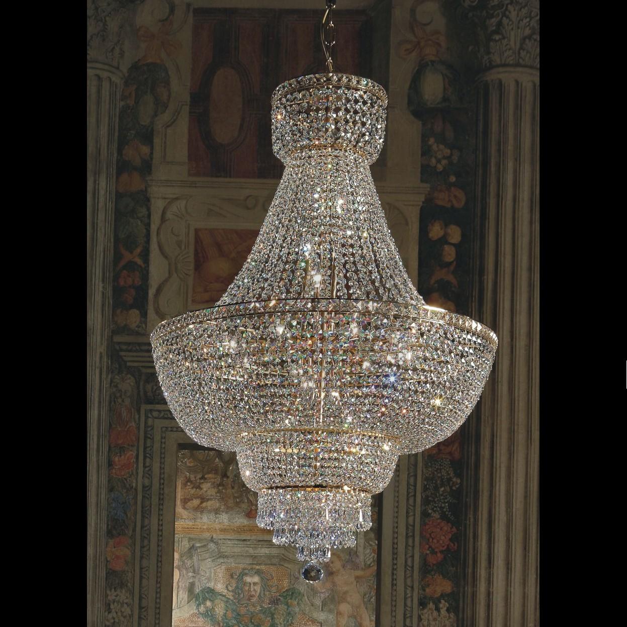 Lustre en cristal au plomb 24 montgolfi re voltolina beethoven - Produit nettoyage lustre cristal ...